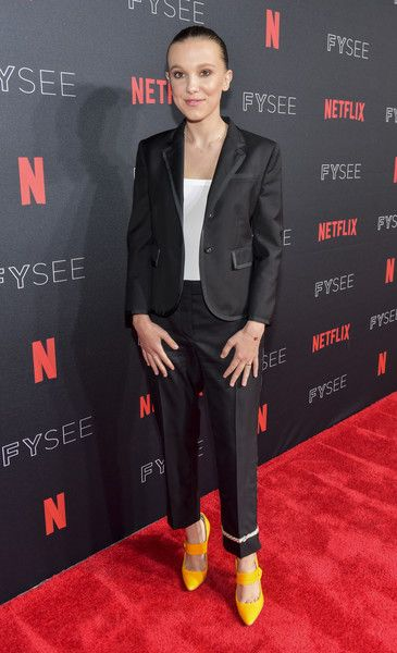 Millie Bobby Brown arrives at the #NETFLIXFYSEE event for 'Stranger Things' at Netflix FYSEE.