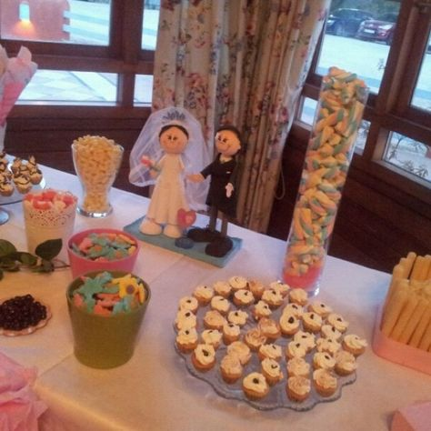 Candy table con fofuchos novios Candy table with fofucho dolls just married
