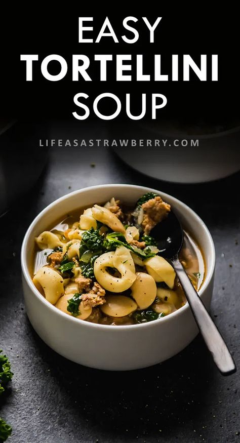This easy, healthy tortellini soup recipe is one of our favorite fall and winter recipes! With plenty of vegetables, Italian sausage, cheese tortellini, kale, and white beans for a simple stovetop recipe that's hearty enough for families. A perfect comfort food dish! #tortellini #souprecipe #kale