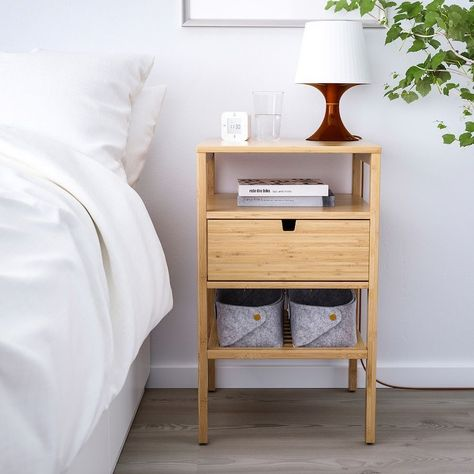 IKEA's New Report Shows That Bamboo Furniture Is Seriously Trending Bedside Table Ikea, Bedside Cabinet, Ikea Hack Nightstand, Small Nightstand, Bedside Table Design, Nightstand Ideas, Wood Nightstand, Ikea Wood Table, Bedside Table Ideas Diy