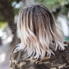 Tie And Dye Blond Platine Cheveux Carre Long Coiffures