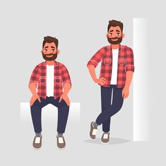 Set Of Character Man In Two Poses The Guy Is Sitting And He Leaning On The Wall Vector Illustration Affiliate Poses Guy Guys Lean Men Nurse Cartoon