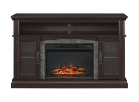 Whalen 54 Halsted Electric Fireplace Entertainment Center In Dark Espresso In 2019 Fireplace Console Electric Fireplace Entertainment Center Electric Fireplace