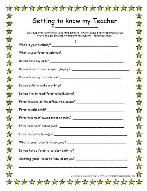 Clever, Crafty, Cookin Mama: Getting to Know Your Teacher - Male (free printable)