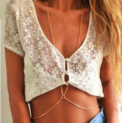 Gold Damen Bikini Crossover Harness-Taillen-Bauch-K?rper-Kette Halskette