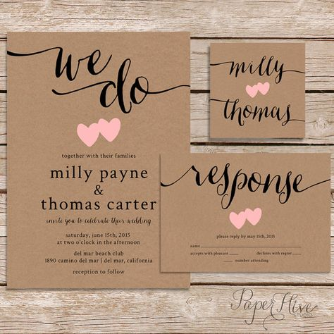 Rustic Wedding Invitation / kraft paper wedding invite set / modern vintage wedding invitation / printable digital file - Weddings and Events