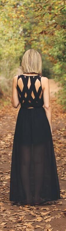 Black crossed-back maxi dress / DIY inspo