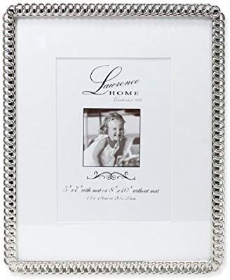 Amazon Com Lawrence Frames Metal Picture Frame With Delicate Outer Border Of Beads 8 By 10 Inch Silver Lawrence Frames Frame Metal Picture Frames