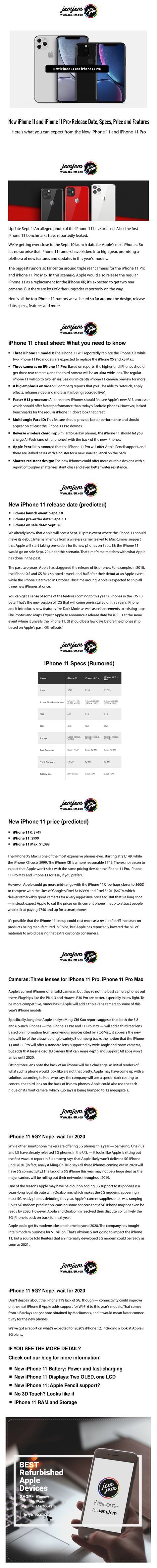 New iPhone 11 and iPhone 11 Pro: Release Date, Specs, Price and Features