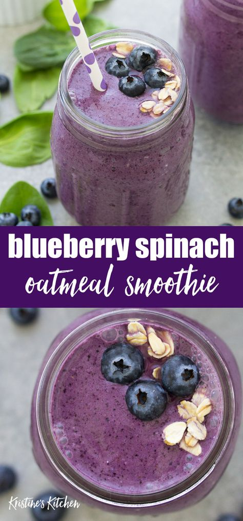 The best healthy blueberry spinach breakfast smoothie! This easy green smoothie is a quick breakfast for kids or adults! Use dairy free yogurt and almond milk for a vegan smoothie. The best healthy blueberry spinach breakfast smoothie! This easy Protein Smoothies, Smoothies Banane, Smoothie Proteine, Easy Smoothies, Breakfast Protein Smoothie, Breakfast Smoothies With Oats, Smoothie Cleanse, Smoothie With Oatmeal, Yogurt Free Smoothies