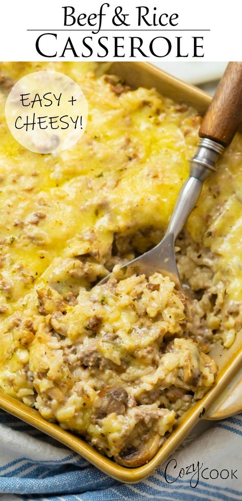 Cheesy Ground Beef and Rice Casserole is an easy dinner idea that makes a great freezer meal! dinner recipes for family Cheesy Ground Beef and Rice Casserole Ground Beef Recipes For Dinner, Dinner With Ground Beef, Easy Dinner Recipes, Ground Beed Recipes, Casseroles With Ground Beef, Ground Beef Rice, Ground Beef And Rice Recipes For Dinner, Dinner Ideas With Beef, Dinner Ideas For Family