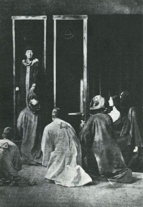 """frater440: """" Aleister Crowley conducting the Rite of Saturn, 1910. Note the different robes, the white robe are essentially exactly the same in this day and age - and are worn by both Probationers and Adeptus Minors. Frater 440.'. 93 93/93 """""""
