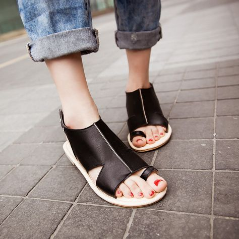 Womens Roma Flat Summer Slingbacks Toe Ring Hollow Out