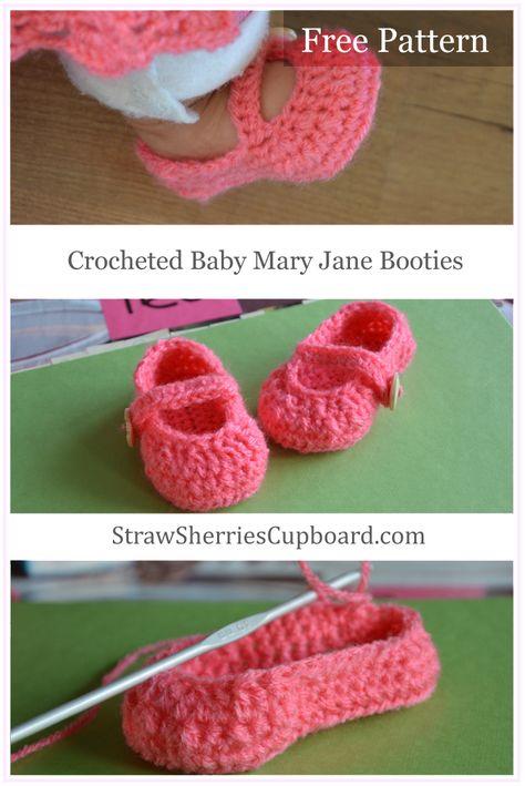 Strawsherries Free Pattern Crocheted Mary Jane Baby Booties Visit