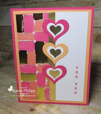 Great Valentine Card With Painted Love Designer Paper Valentine Love Cards Homemade Valentine Cards Valentines Cards