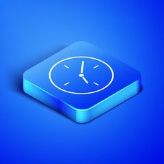Isometric Clock Icon Isolated On Blue Background Time Symbol Blue Square Button Vector Illustration Ad Isolated Clock Icon Blue Square Blue Backgrounds