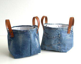 Set Of 2 Storage Bags Storage Bag Toy Bin Baby Gift Toys Storage Storage Bags Denim Bag Jeans Denim Home Decor Jeans Recycles Rangement Sac Et Bretelles En Cuir