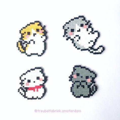 Kawaii cats | Kid's Crafts | Hama beads kawaii, Perler beads