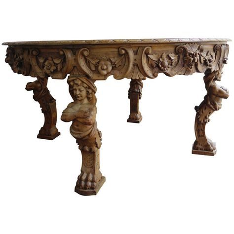 19th Century Renaissance Revival Figural Carved Round Walnut Table