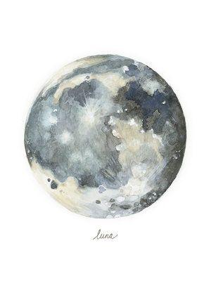 Luna Moon Print Lindsey Marie Mutschler Planet Painting Watercolor Moon Moon Painting