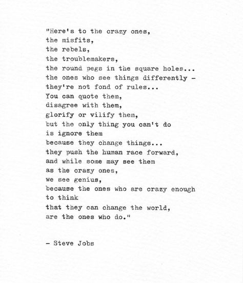 Steve Jobs Hand Typed Inspirational Quote 'The Crazy   Etsy