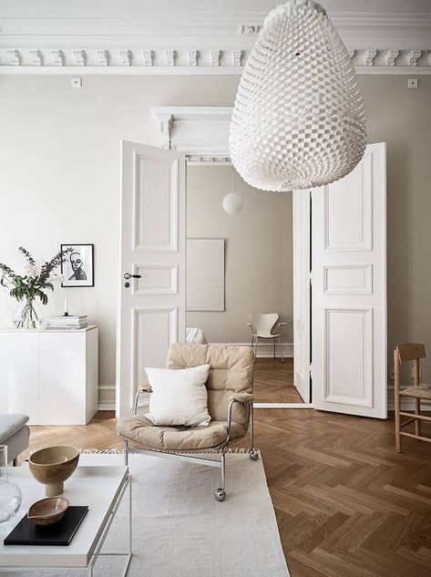my scandinavian home: A Swedish Small Space in Cream and Caramel Tones #sittingroom #livingroom #karinchair #neutrals #scandinavianhome