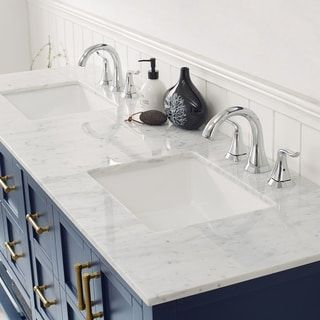 Florence 72 Vanity In Royal Blue With Carrara White Marble