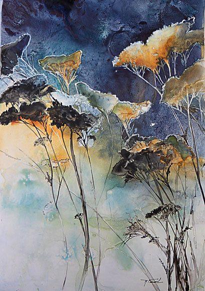Floralite 50x50cm Site De Roselynefarail Abstrait Aquarelle