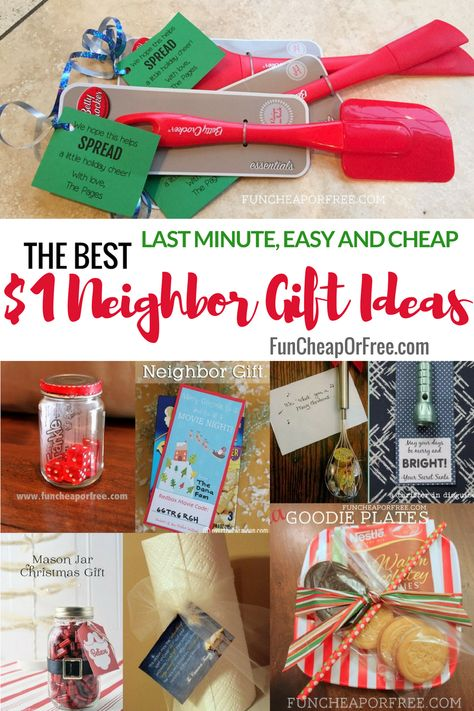 25 easy $1 neighbor Christmas and holiday gift ideas! So cute and clever! From FunCheapOrFree.com