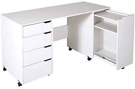 South Shore Crea Craft Table On Wheels With Sliding Shelf Storage Drawers And Scratchproof Surface Pure Craft Tables With Storage Craft Table Storage Drawers