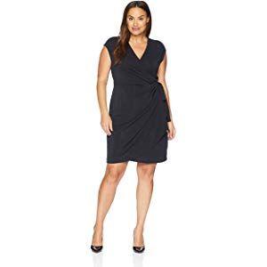 Black Large Black Size Large Lark /& Ro Women/'s Classic Cap Sleeve Wrap Dress