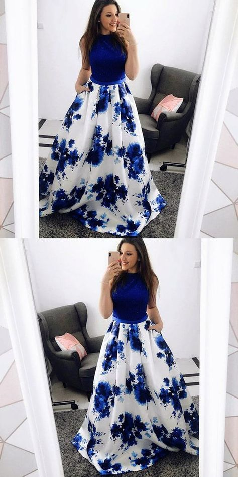 A-Line Jewel Blue Floral Long Prom Dress with Pockets Lace by PrettyLady, $186.82 USD