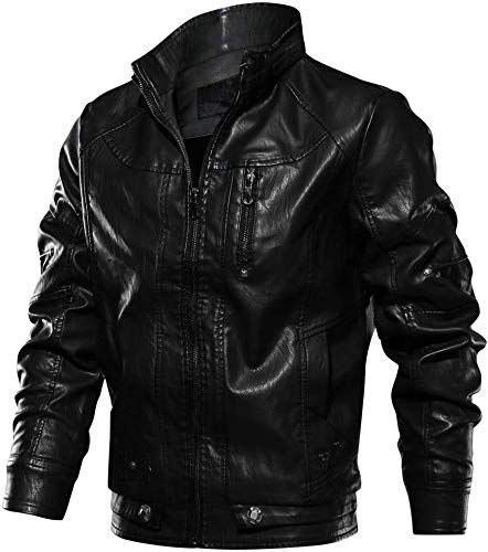 CRYSULLY Mens Fall Faux Leather Jacket Vintage Stand Collar Zipper Pu Leather Biker Jackets