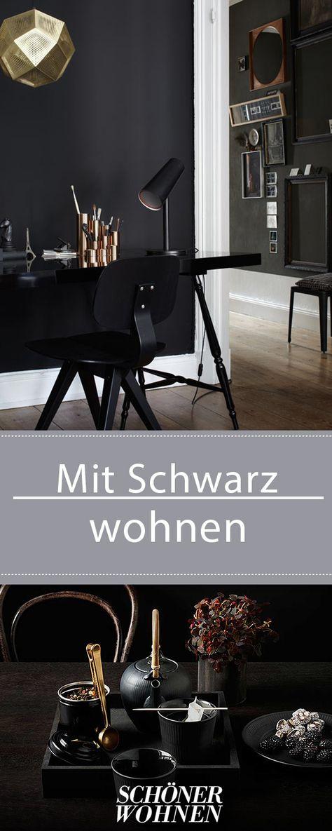 Schwarz Mit Metallic Tonen Mixen Bild 2 Zuhause Dekoration Wandfarbe Schwarz Und Wohnen