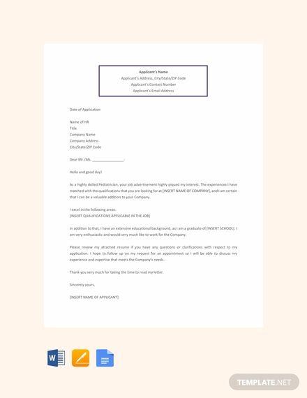 Free Job Application Letter For Medical Doctor Template Word Google Docs Application Letter Template Job Application Letter Template Application Letters