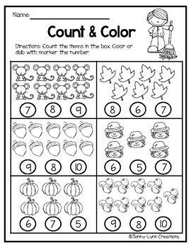 Free Fall Math Counting 1 10 With Images Fall Math Math