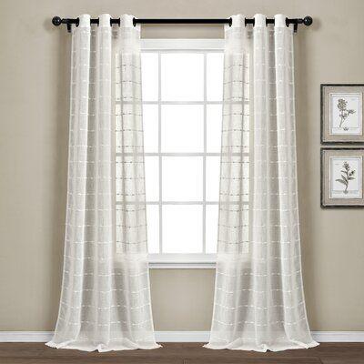 Rosalind Wheeler Enid Textured Sheer Grommet Panel Pair Curtain