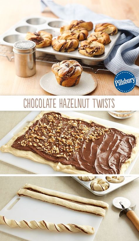 With a quick swipe of Nutella& and a scattering of nuts, turn refrigerated crescent rolls into a sweet treat! These Chocolate Hazelnut Twists made in muffin tins are super easy and super delicious. Quick Dessert Recipes, Easy Desserts, Sweet Recipes, Baking Recipes, Cookie Recipes, Delicious Desserts, Yummy Food, Easy Recipes, Breakfast Recipes