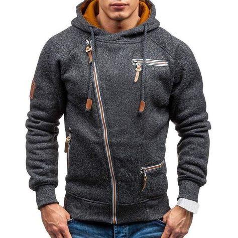 VITryst-Men Contrast Sport Pockets Plus-Size Hooded Sweatshirt with Hood