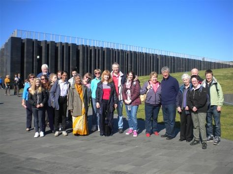 The group for the free EHOD Giant's Causeway tour enjoy the good weather - not bad for September!