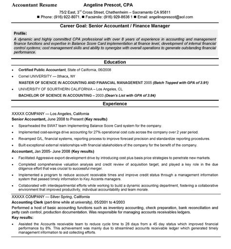 Accounting Resume Sample | Cover Letter