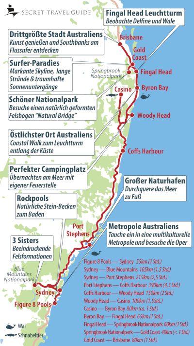 Australiens Ostkuste Von Sydney Nach Brisbane Australien Karte