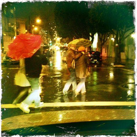 Rainy Night in North Beach, couples with umbrellas cross the street  #San Francisco, #Rain, #weather, #hipstagram, #art, #photograph, #LynnFriedman