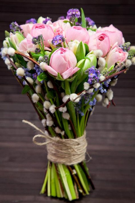 Late April/early May ...♥♥... only. Pussy willow, grape hyacinth, ranunculus, forget me nots, tulips