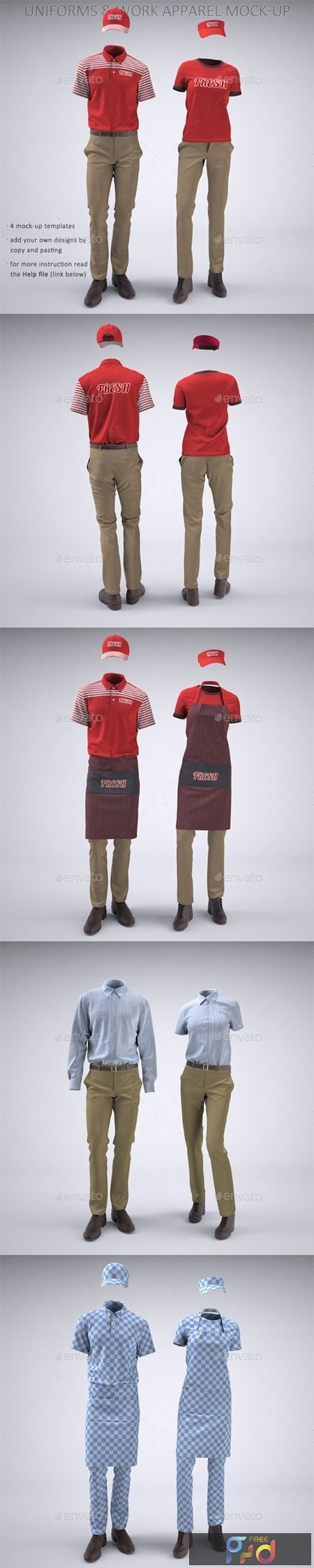 Food Service Uniforms And Retail Uniforms Mock Up 22094416 Freepsdvn In 2021 Clothing Mockup Food Service Uniforms Clothing Templates