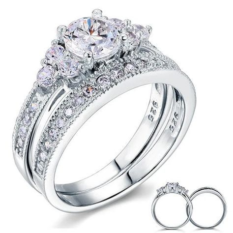 1 Ct Created Diamond 925 Sterling Silver Wedding Engagement Ring Set