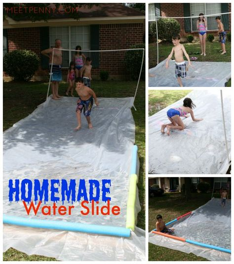 I built a waterpark in my front yard! The homemade water slide is so much easier than it looks. Use PVC pipe to make a sprinkler and put down some thick plastic. Love that the water pools at the bottom for more SPLASH! Come see all the fun water activities.