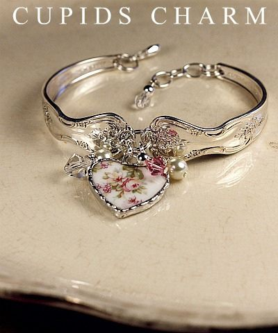 Vintage Silver Spoon Bracelet with Broken China Charm.  Perfect combo!