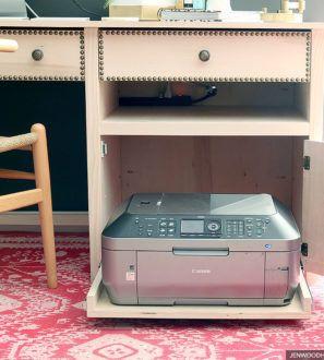 Desk With Hidden Printer Cabinet Printer Storage Printer
