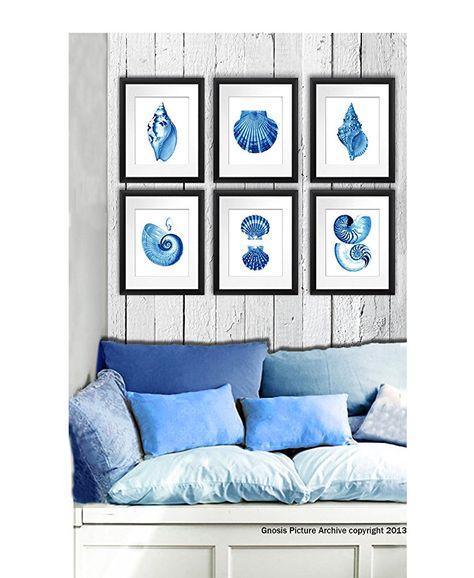 Blue Seashells Decor Art Prints Set Of 6 Unframed Beach Coastal